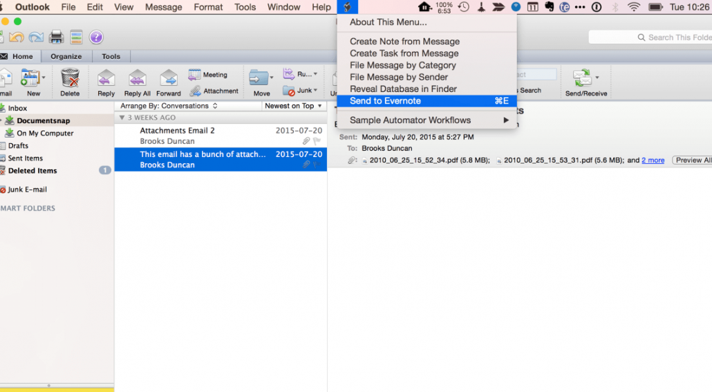 Outlook Mac to Evernote