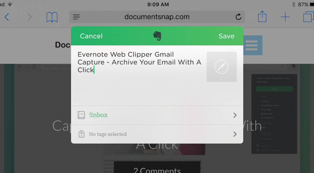 Evernote Web Clipper For iOS