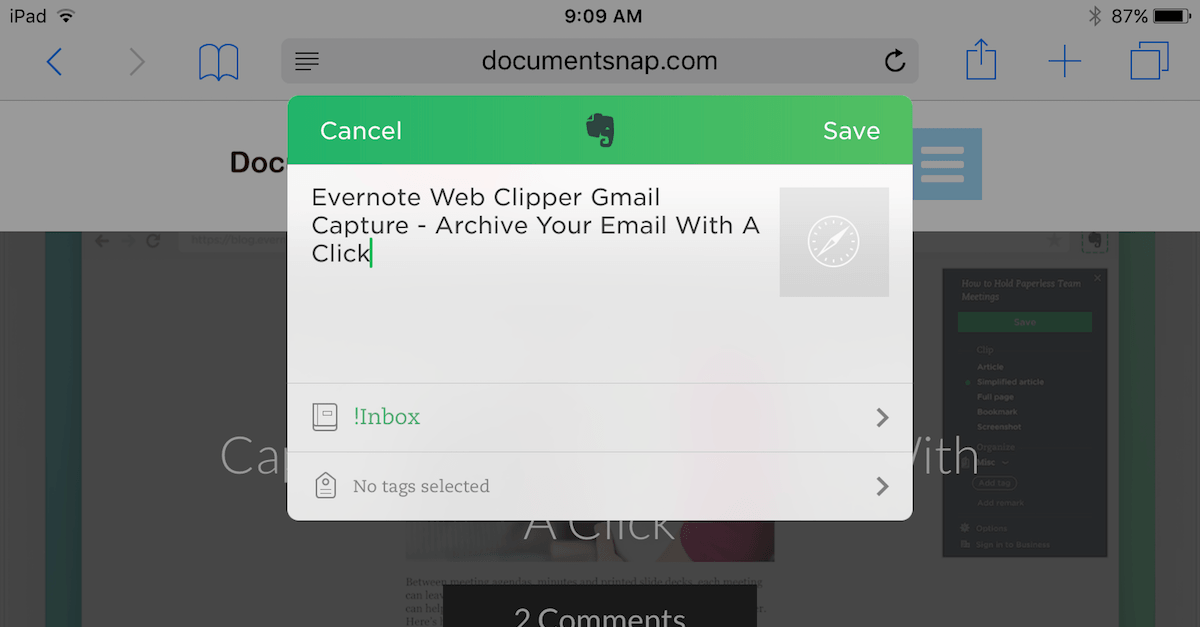 Evernote Web Clipper For iOS Now Supports Tags